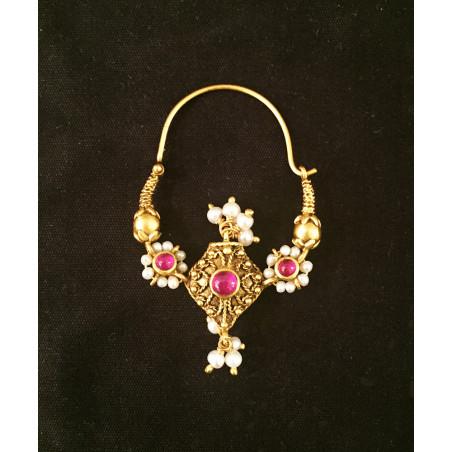Inde - Boucles oreilles perles et rubis