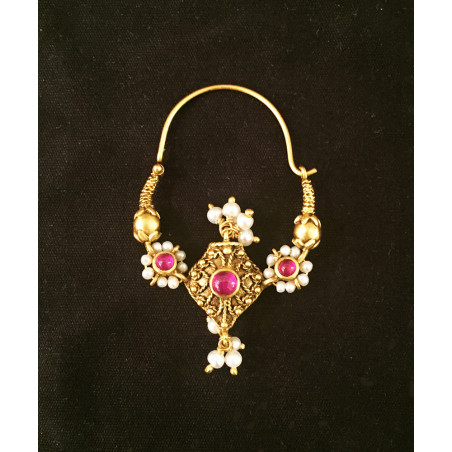India - pearls and ruby earring