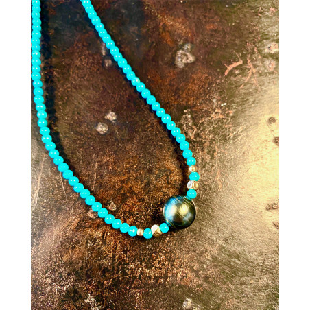 Catherine Michiels - Turquoise and pearl Necklace