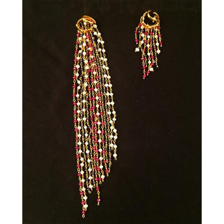 Inde - Boucles oreilles perles et saphirs