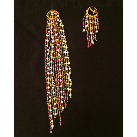India - pearls and sapphires earring