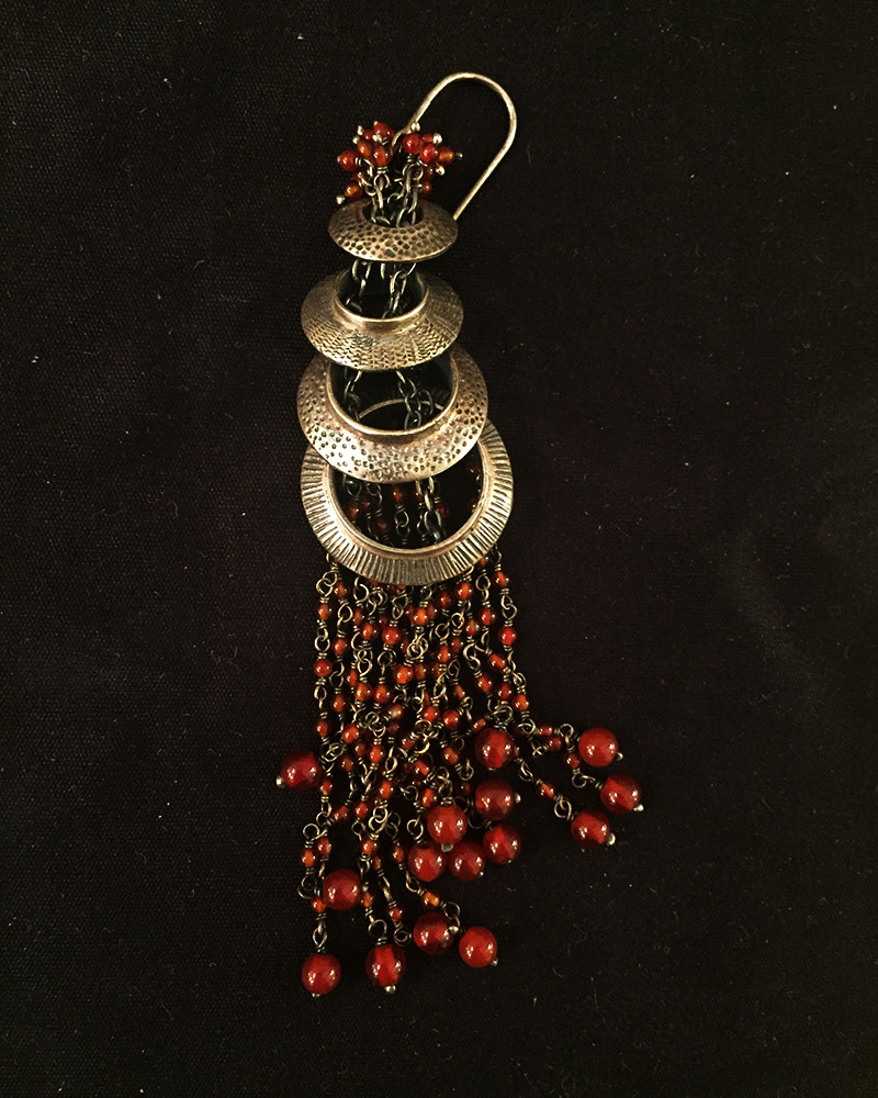 India - silver earrings with red onyx