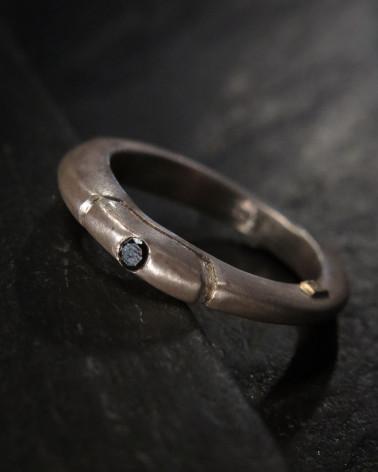 Rosa Maria - Anneau Argent poli, Diamant noir