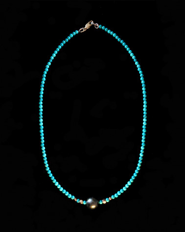 Catherine Michiels - Collier Turquoises et perle