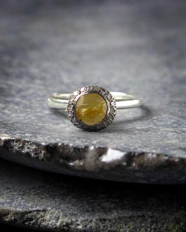 Rosa Maria - Petit quartz doré et diamants