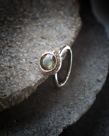Rosa Maria - Green rutilated quartz and Diamonds