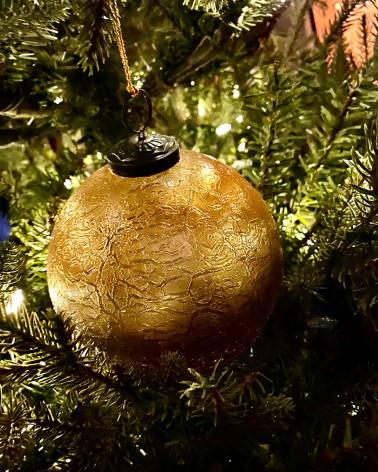 Boules de Noël 2020, verre or craquelé