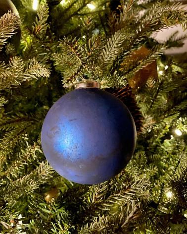 Boules de Noël 2020, en verre deep blue ou aubergine