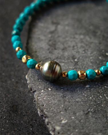 Catherine Michiels - Bracelet Perle Tahitienne sur turquoises
