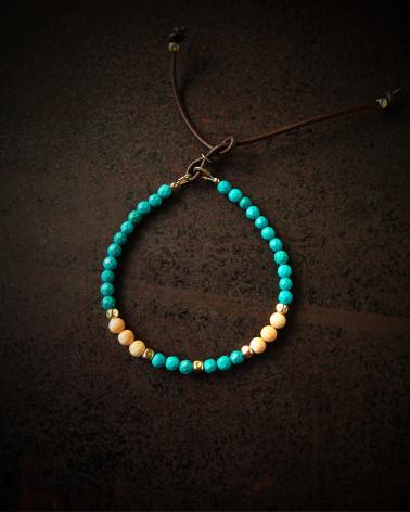 Catherine Michiels - Bracelet Turquoise, or et nacre