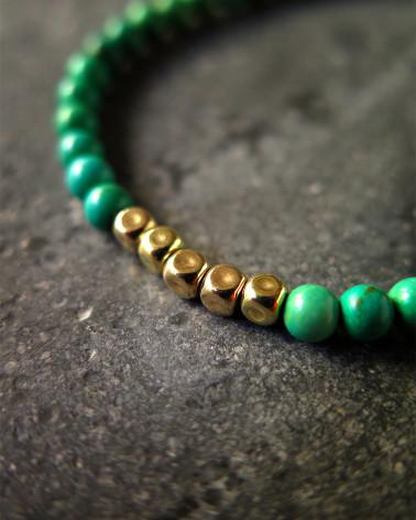 Catherine Michiels - Bracelet cubes or sur perles turquoise