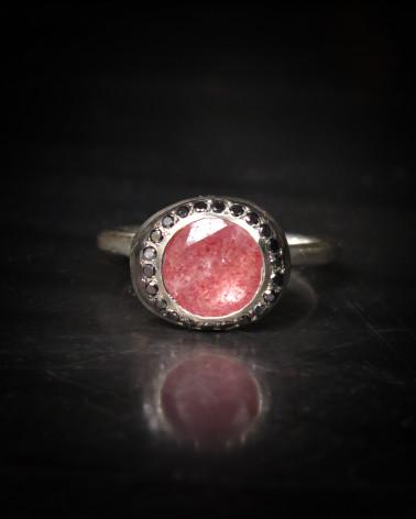 Rosa Maria - Quartz rose Diamants noirs