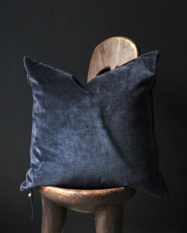 Maison de Vacances - Coussin velours royal Bleu nuit