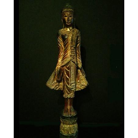 Birmanie buddha laque rouge
